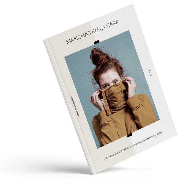 Portada del libro de quitar las manchas en la cara que muestra a una mujer cubriéndose la cara