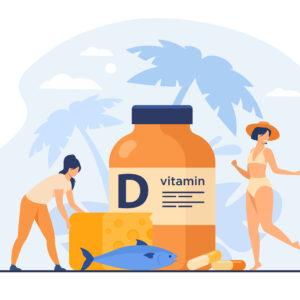 Mujeres comiendo pescado graso, vitamina D, queso y tomando el sol