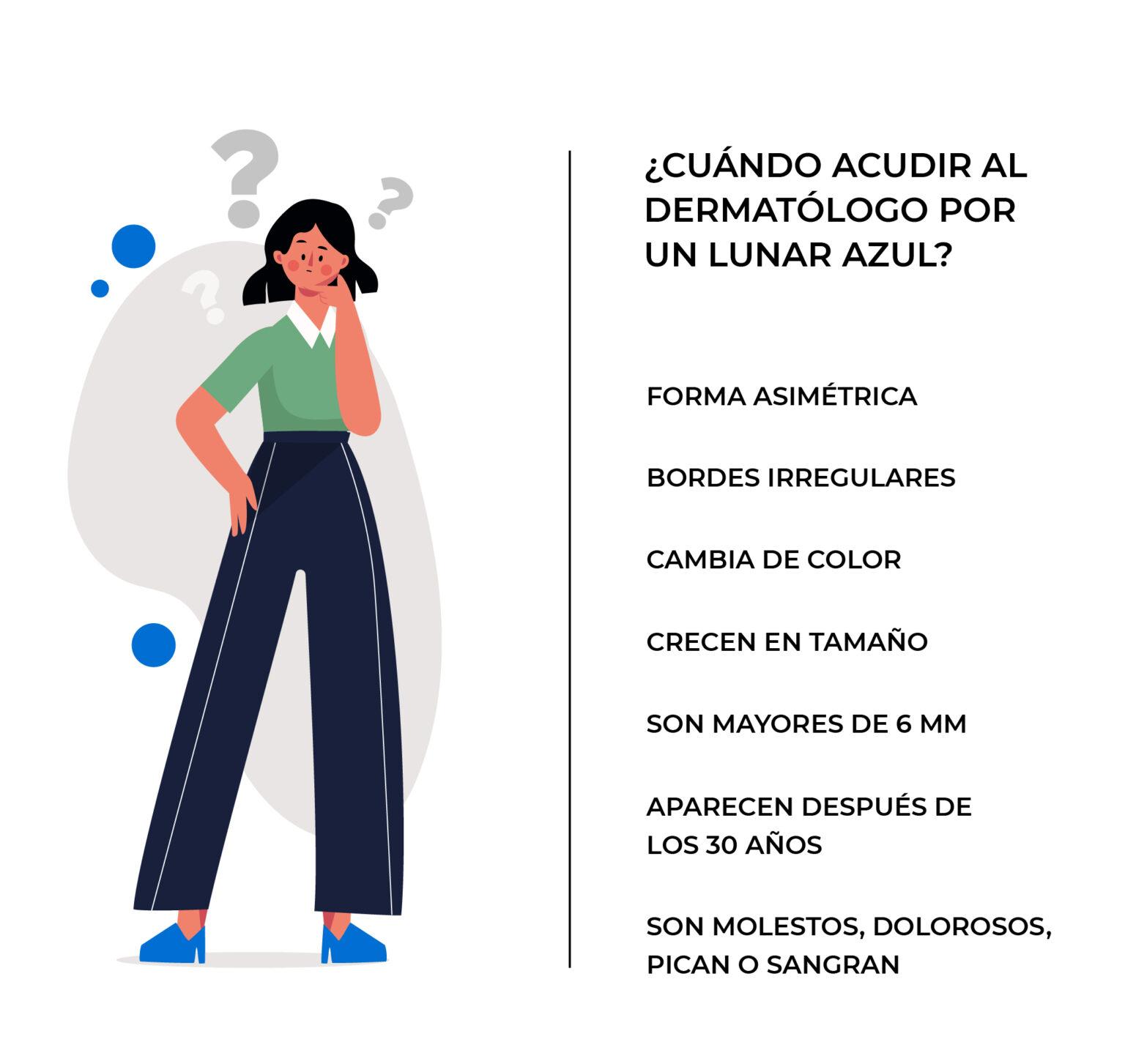 Signos más importantes para acudir al dermatólogo si tienes un lunar azul